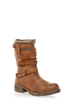 Slouchy Buckle Trim Boot With Sweater-Knit Detail,COGNAC,medium