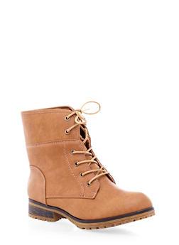 Lace-Up Faux Leather Combat Ankle Boots,COGNAC,medium