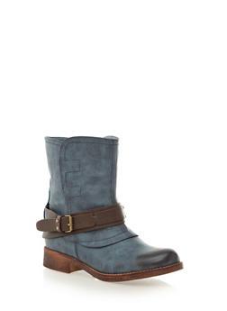 Contrast Buckle Trim Ankle Boots,BLUE,medium