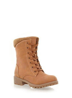 Lace-Up Bootie with Sweater Knit Accent,COGNAC,medium