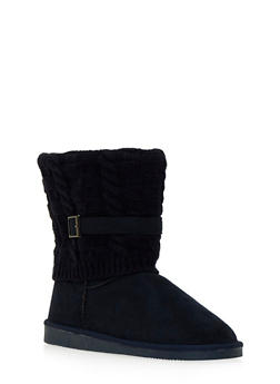 Faux Shearling Lined Boots with Knit Overlay - 1116057181662