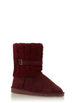 Shearling Style Faux Suede Boots with Knit Overlay - 1116057181662
