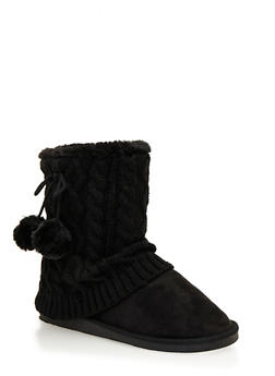 Boots with Pom Pom Tie and Cable Knit Trim - 1116057181663