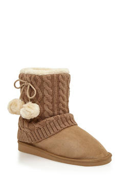 Shearling Style Faux Suede Boots with Pom Poms and Cable Knit Trim - 1116057181663