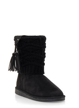 Faux Shearling Lined Boots with Knit Overlay - 1116057181664