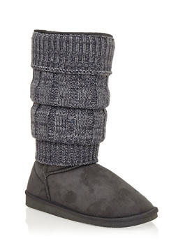 Mid-Calf Tiered Sweater Boots - 1116057181671