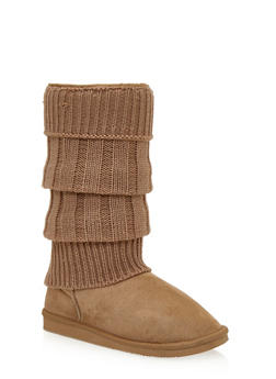 Mid-Calf Shearling Style Faux Suede Sweater Boots - 1116057181671