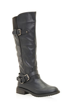 Buckled Knee High Boots - 1116057181676