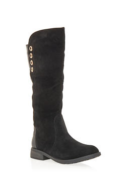 Faux Suede and Leather Boots with Grommet Accents - BLACK - 1116057181678