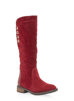 Faux Suede and Leather Boots with Grommet Accents - 1116057181678