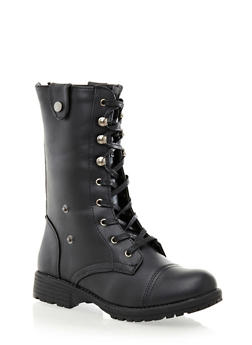 Lace-Up Hiking Boot With Back Zipper,BLACK,medium