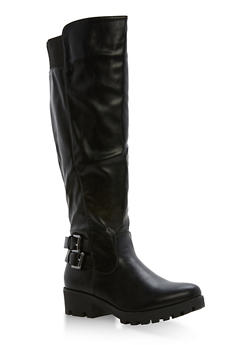 Double Buckle Tall Riding Boots - 1116057192453