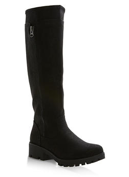 Faux Leather Tall Riding Boots - 1116057192454