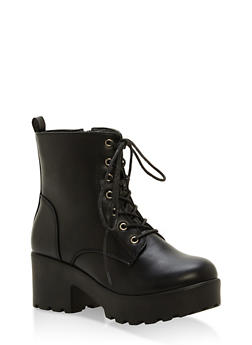 Lace Up Lug Sole Booties - BLACK SMOOTH PU - 1116057196633