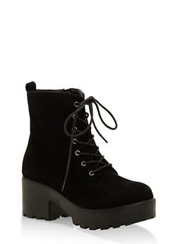 Lace Up Lug Sole Booties - BLACK F/S - 1116057196633