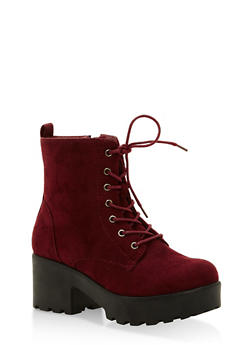 Lace Up Lug Sole Booties - BURGUNDY F/S - 1116057196633