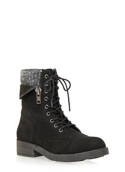 Faux Suede Combat Boots with Peekaboo Knit Panel - BLACK - 1116062091560