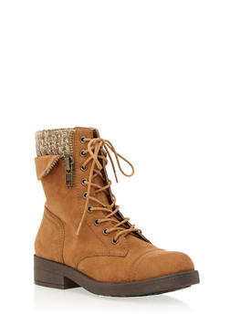 Faux Suede Combat Boots with Peekaboo Knit Panel - TAN - 1116062091560