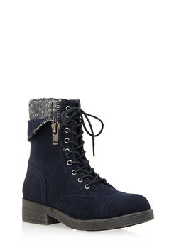 Faux Suede Combat Boots with Peekaboo Knit Panel - 1116062091560