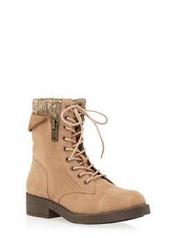 Faux Suede Combat Boots with Peekaboo Knit Panel - TAUPE - 1116062091560