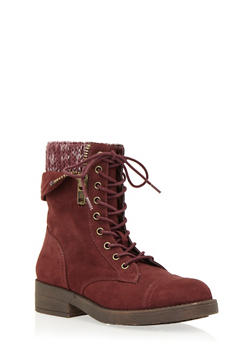 Faux Suede Combat Boots with Peekaboo Knit Panel - BURGUNDY - 1116062091560