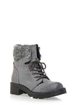 Hiking Bootie with Knit Detail - 1116062093616