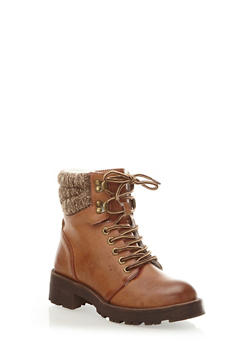 Lace-Up Hiking Boots with Marled Knit Cuff,TAN,medium