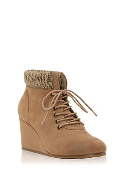 Faux Suede Wedge Booties with Sweater Trim - 1116062095804