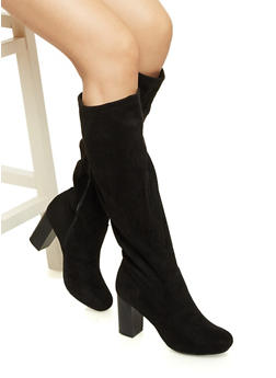 Faux Suede Knee High Boots with Stacked Heels - 1116062096001