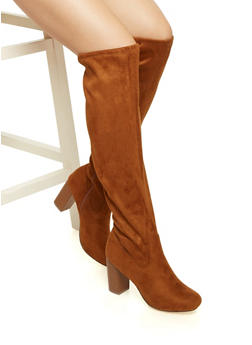 Faux Suede Knee High Boots with Stacked Heels - 1116062096010