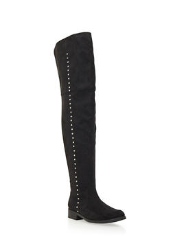 Faux Suede Over-the-Knee Boots with Metallic Studs - 1116062098412