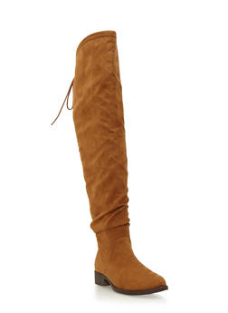 Faux Suede Over-the-Knee Boots with Cinch at Top - 1116062098482