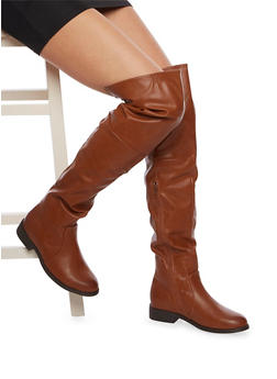 Faux Leather Over-the-Knee Boots with Lace Cinch - 1116062098490