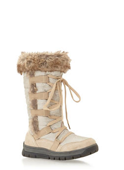 Lace Up Snow Boots with Faux Fur - 1116065462426