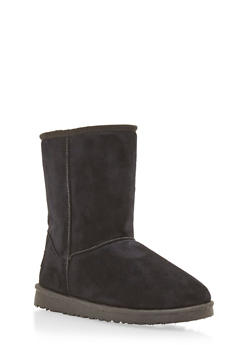 Shearling Style Faux Suede Boots - BLACK - 1116065464245