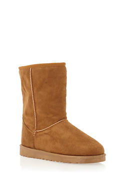 Shearling Style Faux Suede Boots - 1116065464245