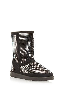 Shearling Style Boots with All Over Rhinestone Studs - 1116065464246
