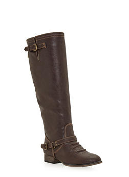 Knee High Boots with Contrast Stitching - 1116065486885