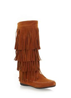 Tiered Fringe Moccasin Boots,CAMEL,medium