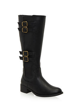 Tall Boots with Buckle Straps - 1116068752586