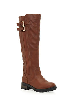 Knee High Boots with Side Buckle Cinches - 1116068753656
