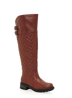 Quilted Riding Boots with Buckle Straps - 1116068753659