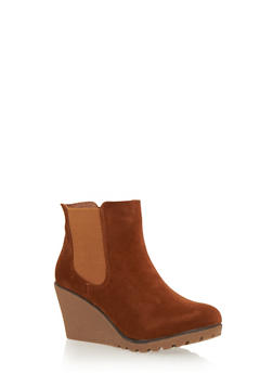Wedge Ankle Boot with Elastic Side Panels - COGNAC F/S - 1116073112437