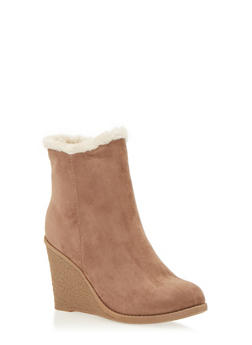 Faux Suede Shearling Lined Wedge Booties - 1116073114297