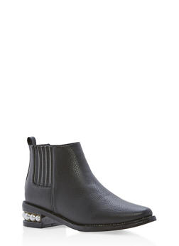 Faux Leather Ankle Boots with Faux Pearl Accents - 1116073116244