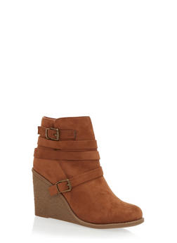Strappy Wedge Ankle Boots - CAMEL F/S - 1116073119258