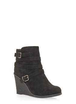 Strappy Wedge Ankle Boots - BLACK F/S - 1116073119258