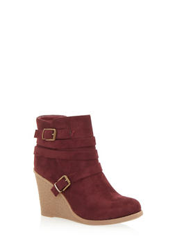 Strappy Wedge Ankle Boots - BURGUNDY F/S - 1116073119258