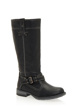 Stitched Biker Boots with Buckle Strap - 1116073492226
