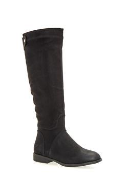 Tall Flat Riding Boots - BLACK - 1116073492287